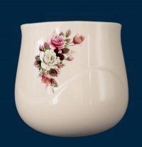 Mezza vasca da parete realizzata in porcellana limonge. In dotazione contenitore in plastica per fiori e kit di viti in ottone per il montaggio. Decori indelebili prodotti artigianalmente e cotti al forno a 900 gradi.