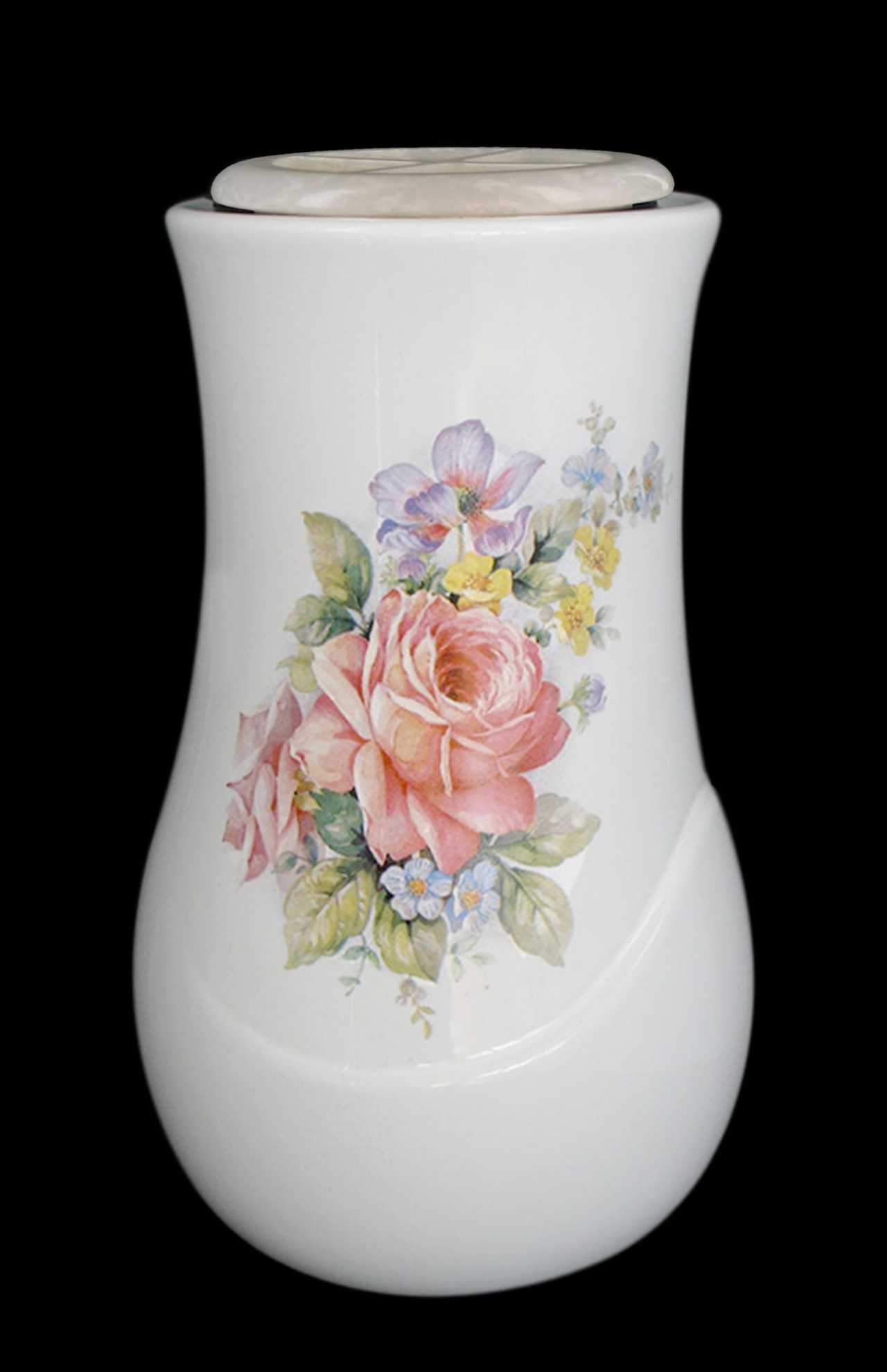 Vaso da parete realizzato in porcellana limonge. In dotazione contenitore in plastica per fiori e kit di viti in ottone per il montaggio. Decori indelebili prodotti artigianalmente e cotti al forno a 900 gradi.