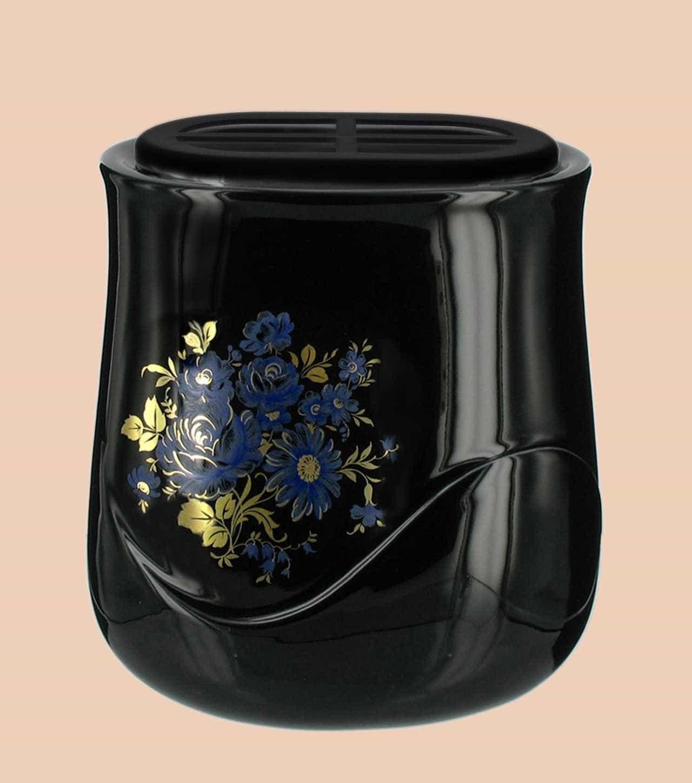 Vaschetta a parete realizzata in porcellana limonge. In dotazione contenitore in plastica per fiori e kit di viti in ottone per il montaggio. Decori con riporti in oro zecchino. Decori indelebili prodotti artigianalmente e cotti al forno a 900 gradi.