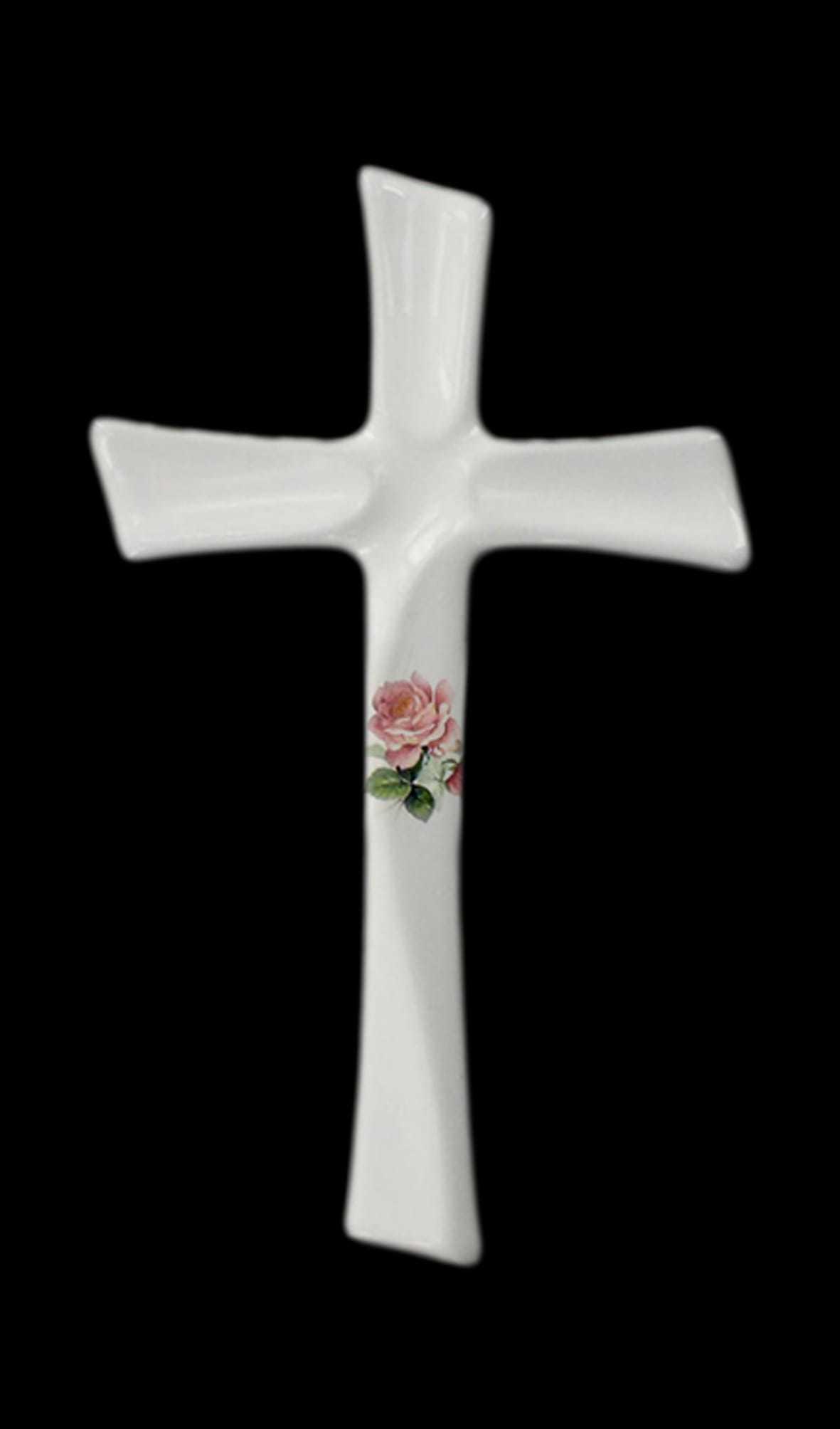 Croce TAU da parete realizzata in porcellana limonge. In dotazione contenitore in plastica per fiori e kit di viti in ottone per il montaggio. Decori indelebili prodotti artigianalmente e cotti al forno a 900 gradi.