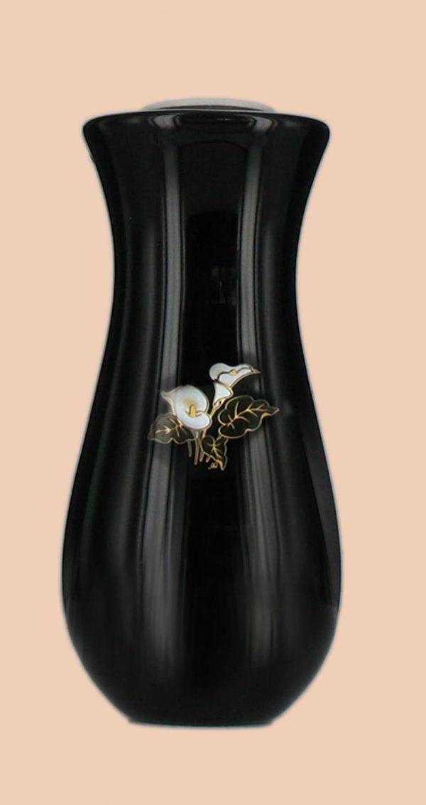 Porta orchidee realizzato in porcellana limonge. In dotazione contenitore in plastica per fiori e kit di viti in ottone per il montaggio. Decori con riporti in oro zecchino. Decori indelebili prodotti artigianalmente e cotti al forno a 900 gradi.